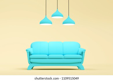 modern blue sofa with lamp in brown living room. Minimal style concept. pastel color style.