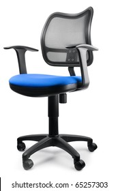 Modern blue swivel chair isolated on white