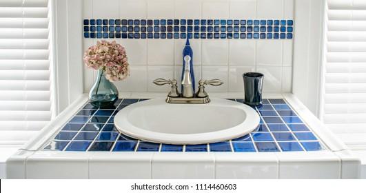 Modern Blue Tiled Vanity Sink