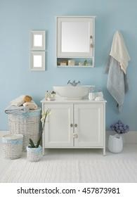 modern blue wall clear bathroom style