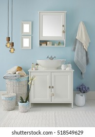 modern blue wall clear bathroom style, modern lamp