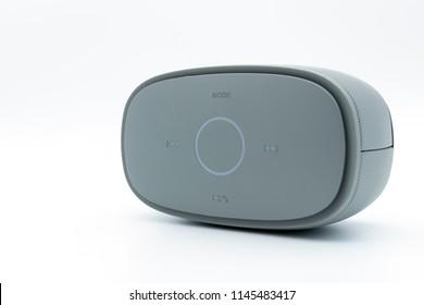 Modern bluetooth speaker .isolate on white background, mini bluetooth speaker