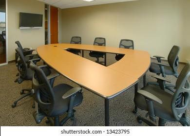 A modern board room in a new office