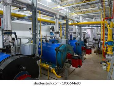 Modern boiler room equipment. Water heating. Power supply. Water supply