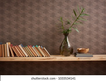 Modern book and bookcase vase of flower decoration brown wallpaper and library banner style