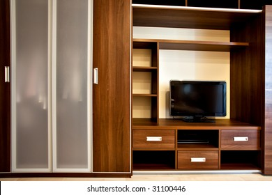 modern bookcase and wardrobe with TV-sistem