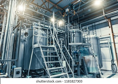Modern brewery production steel tanks and pipes, machinery tools and vats, beer production, toned