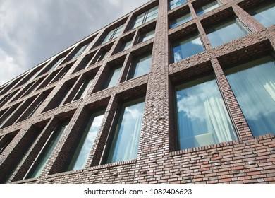 modern brick facade of an office building