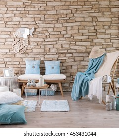 modern brick wall lounge chair blue pillow and hat old rock relax decor