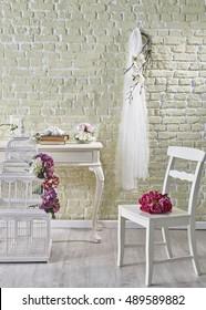 Modern brick wall and wedding decor interior