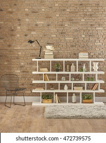 Modern brick walls and beautiful living room library