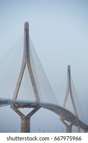 Modern bridge in Cadiz, Spain.