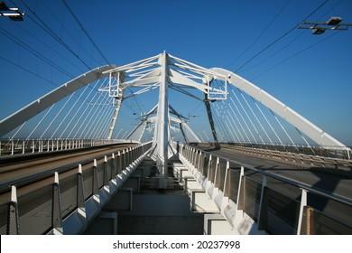 Modern bridge. Bridge to IJburg, Amsterdam.