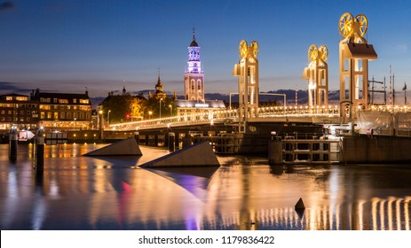 Modern bridge over the river IJssel in the Historical City of Kampen, Overijssel, Netherlands by Night.