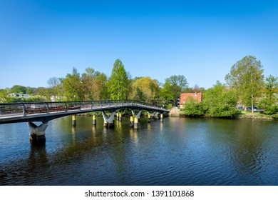 Modern bridge over the River Trave in Lubeck, Germany