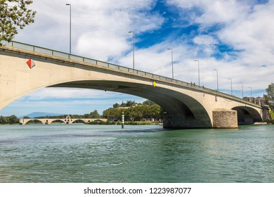 Modern bridge and Saint Benezet bridge in Avignon in a beautiful summer day, France