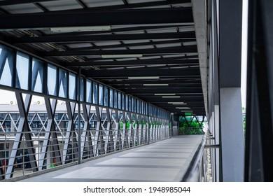 modern bridge  walkaway in hospital, connect between the building