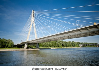 Modern bridge in Warsaw over Vistula river, Poland
