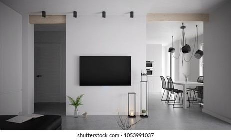 Modern and bright apartment interior design - 3 d render