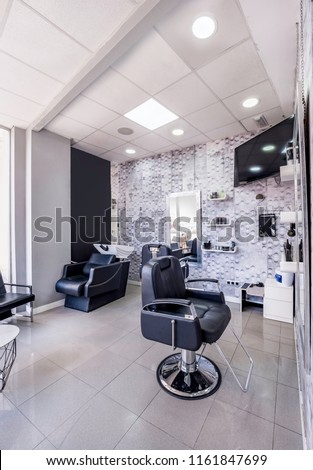 Modern Bright Beauty Salon Baber Shop Stockfoto (Jetzt bearbeiten ...