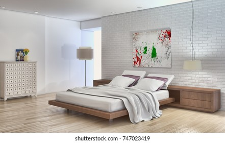 Modern bright bed room, interiors. 3D rendering illustration