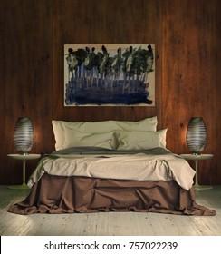 Modern bright bed room, interiors. 3D rendering illustration