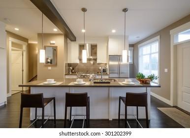 Moderno, luminoso, limpio, interior de cocina con electrodomésticos de acero inoxidable en una casa de lujo.