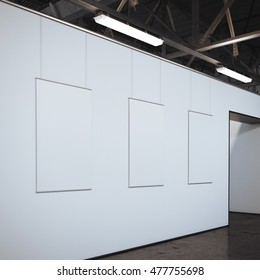 Modern bright gallery with three white blank frames. 3d rendering