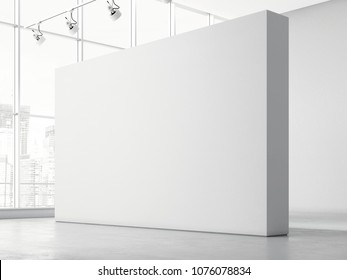 Modern bright gallery with white walls and big windows, 3d rendering
