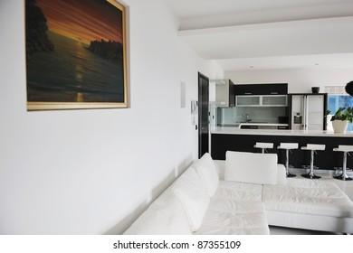 Modern bright home living room interior