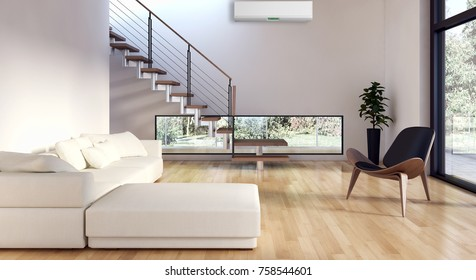 Modern bright interior with air conditioning, 3D rendering illustration