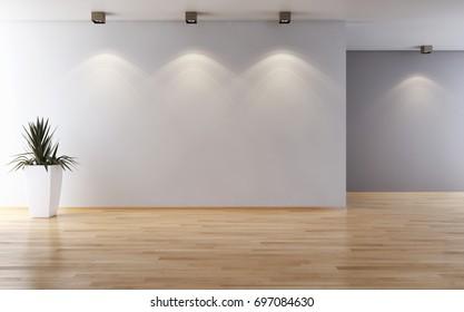Modern bright interiors. 3D rendering
