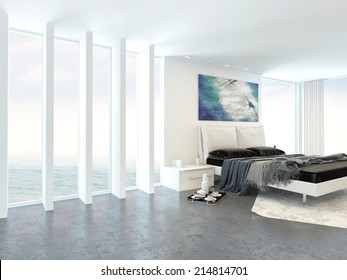 Modern bright light bedroom interior with a double divan bed alongside a floor to ceiling glass wall with a white ceiling in an apartment or condominium