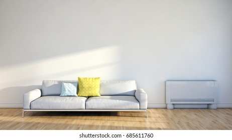 Modern bright living room. 3D rendering