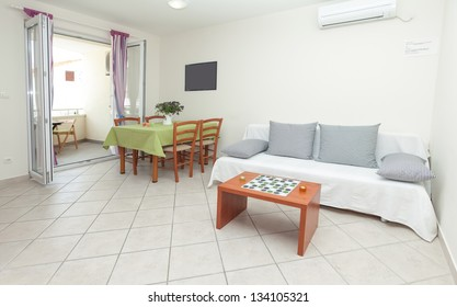 Modern and bright living room interior in house