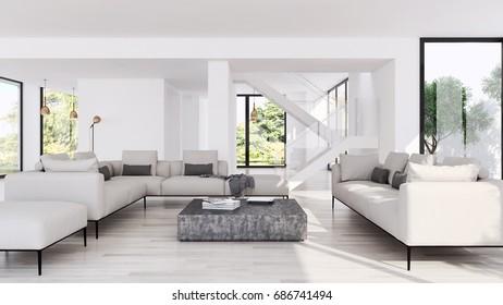 Modern Grey White Sitting Room Interior Stock Illustration 195299585 ...