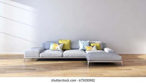 Modern bright living room lounge interior. 3D rendering