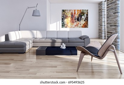 Modern bright living room, with white wall, interiors. 3D rendering