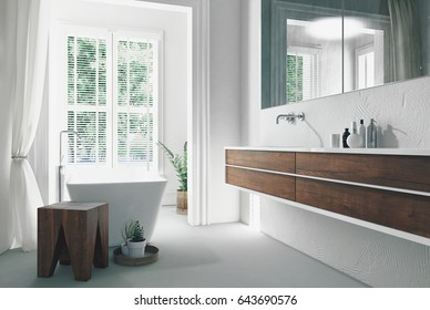 Modern bright sunny white bathroom interior with wall mounted double vanity and mirror and freestanding bathtub in front of a large window. 3d rendering