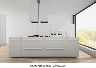 Modern bright white fitted kitchen with center island, wood floor and large window overlooking a sunlit garden. 3d render