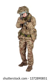 Modern british soldier with rifle isolated on a white background. Army, military and people concept