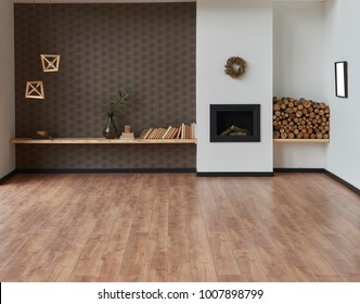 modern brown living room and decorative home background fireplace and wood decoration