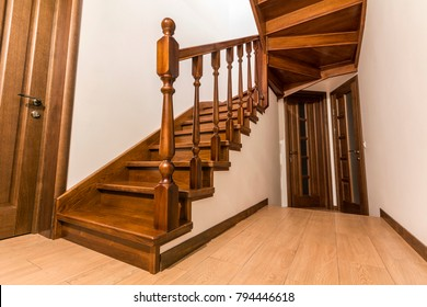 modern brown oak wooden stairs and doors in new renovated house interior - Wooden Stairs