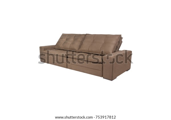 Modern Brown Suede Couch Sofa Isolated Stock Photo (Edit Now ...