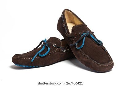 Modern brown suede men shoes isolated on the white background