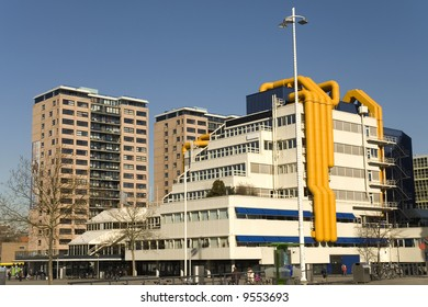 Modern building with abstract airco pipes
