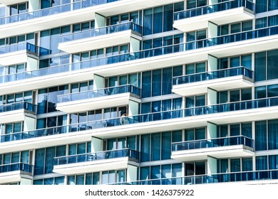 modern building with balconies, photo as a background