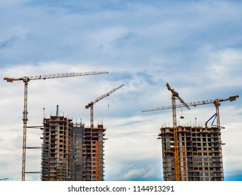 Modern building being constructed