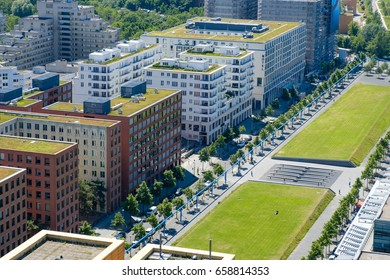 modern building complex and public park  - city aerial