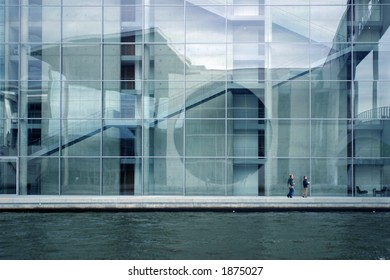 Modern building elevation at the water